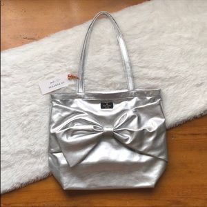Authentic Kate Spade On Purpose Silver Bow Tote